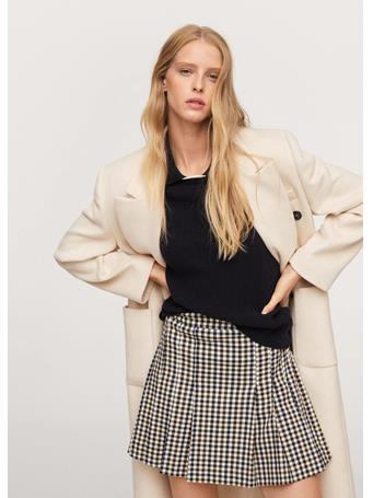 MANGO - Check Miniskirt NATURAL WHITE