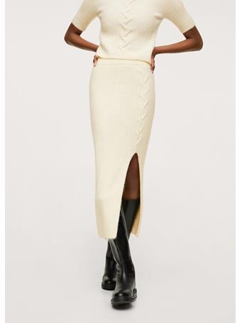 MANGO - Slit Knitted Skirt NATURAL WHITE