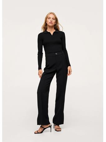 MANGO - Side Slit Suit Pants BLACK