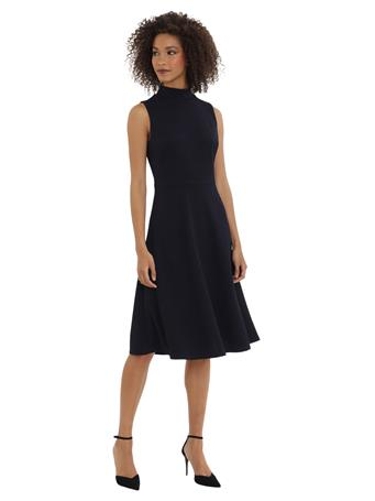 MAGGY LONDON - Mock Neck Sleevless Fit & Flare Dress DARK NAVY