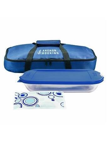 ANCHOR HOCKING - 4 Piece Bakeware Set with Tote - Navy No Color