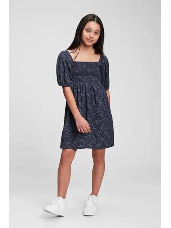 GAP - Kids Smocked Print Dress BLUE PRINT