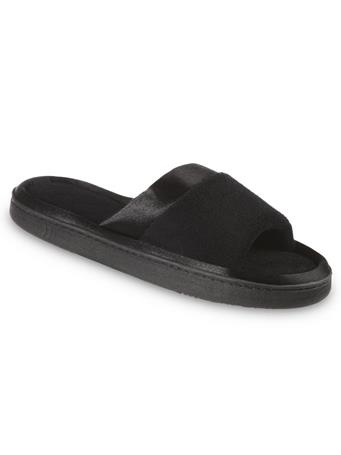 ISOTONER'S - Women's Microterry Satin Trim Wider Width Slide Slippers BLACK