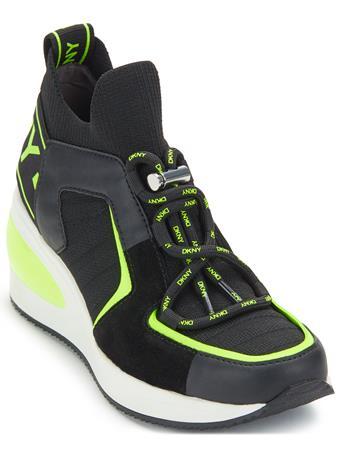 DKNY - Bridgette Wedge Sneaker BLACK/NEONGREEN
