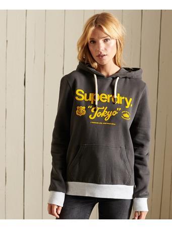 SUPERDRY - Core Logo American Ringer Hoodie Vintage Black