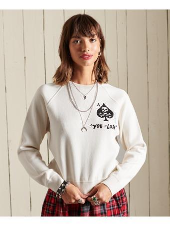 SUPERDRY - Embroidered Organic Cotton Crew Jumper Ecru