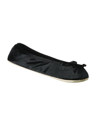ISOTONER'S - Women's Satin Ballerina Slippers with Satin Bow BLACK