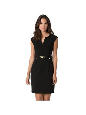 CALVIN KLEIN - Gold Zip Shift Dress BLACK