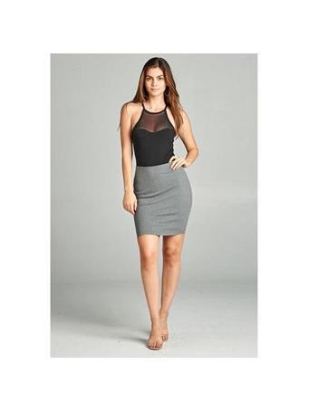 ACTIVE BASIC - Fitted Ponte Mini Skirt HTHR GREY