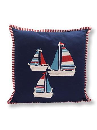 Decorative Pillow 3 Sail Boats NAVY