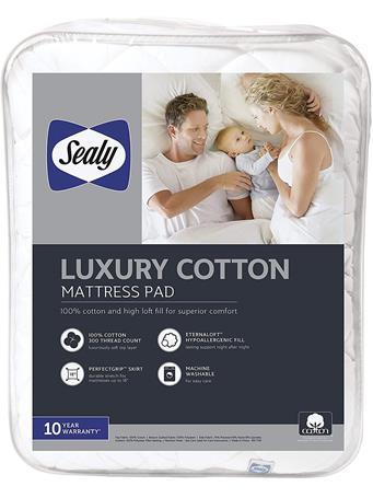 SEALY - T300 Luxury Cotton Mattress Pad WHITE