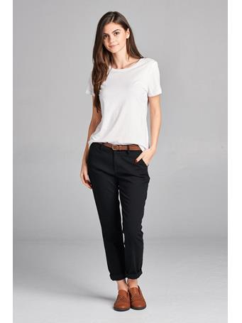 ACTIVE BASIC - Twill Pants With Belt BLACK