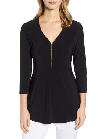 CHAUS - 3/4 Sleeve Zipper Top 060 RICH BLACK