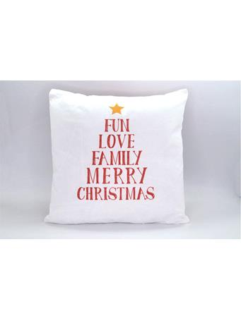 CHRISTMAS COLLECTION - Fun, Love, Family decorative pillow with embroidery WHITE