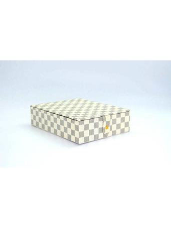 Jewelry Box In Designer Print With Fold Up Mirror WHITE