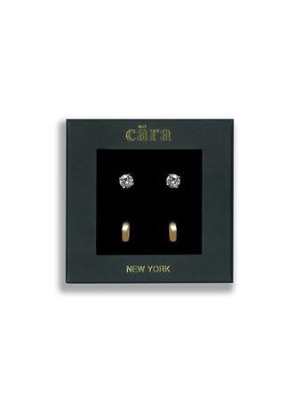 CARA - Gold Huggie & 6mm CZ Studs 2-Pair Set GLD/CZ