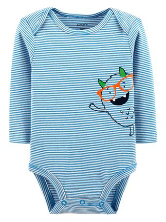 CARTER'S - Long Sleeve Monster Onesie  No Color
