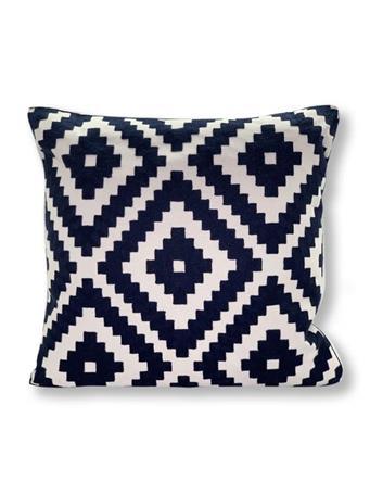 MARINER COTTON - Diamond Pattern Decorative Pillow WHITE/NAVY