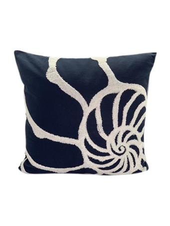 MARINER COTTON - Sea Shell Print Decorative Pillow NAVY
