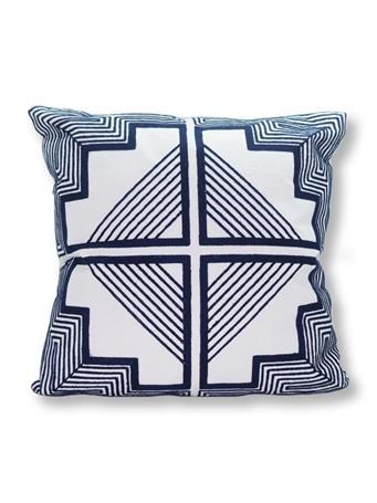 MARINER COTTON - Tile Print Decorative Pillow WHITE