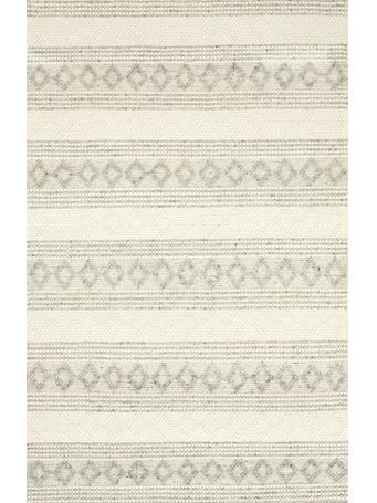 KENSINGTON - Diamond stripe Plush Rug GREY