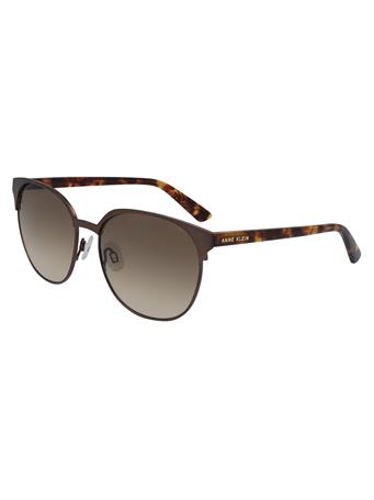 ANNE KLEIN Round Frame Sunglasses MOCHA