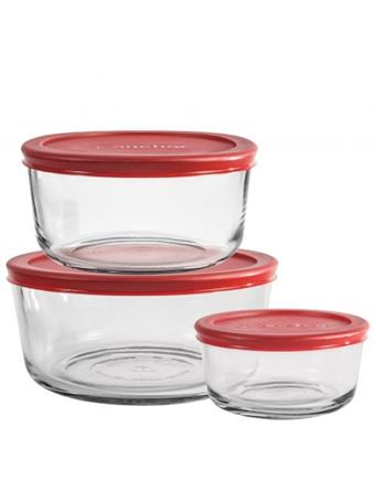 ANCHOR HOCKING - 6Pc Rnd Storage 2/4/7C With Red Lid No Color