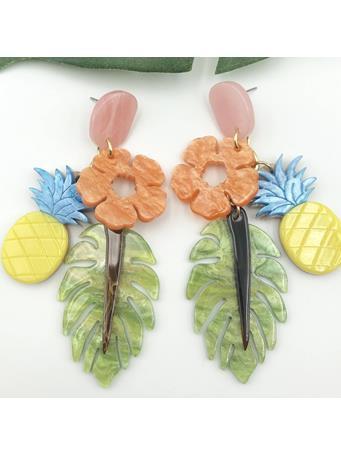 Tropical Pineapple Dangle Earrings No Color