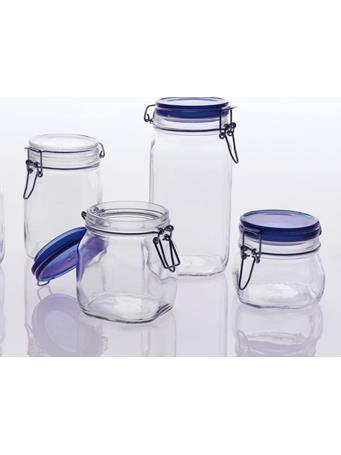 BORMIOLI ROCCO - Fido Square Storage Jars with Cobalt Lid - Assorted Sizes BLUE