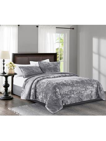 MAISON LUXE - Empire Velvet 3-Piece Comforter Set SILVER GREY
