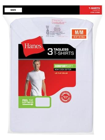 HANES - Cotton Crew Short Sleeve 3 Pack WHITE