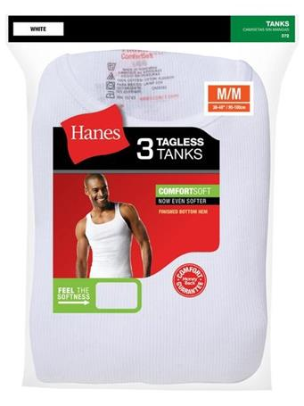 HANES - Cotton A Shirt 3 Pack WHITE