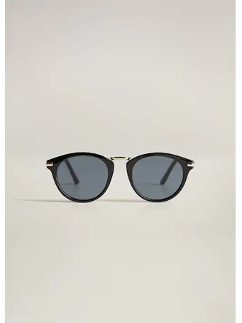 MANGO - Metal Bridge Sunglasses BLACK