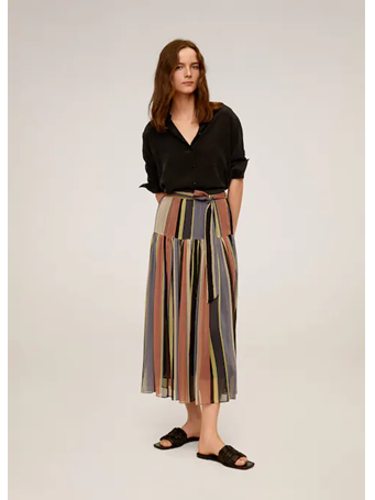 MANGO - Striped Midi Skirt 85 MED PINK
