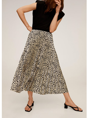 MANGO - Pleated Midi Skirt BLACK