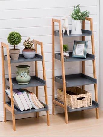 Tiger Grey Bamboo Shelf - 3 Shelves GREY