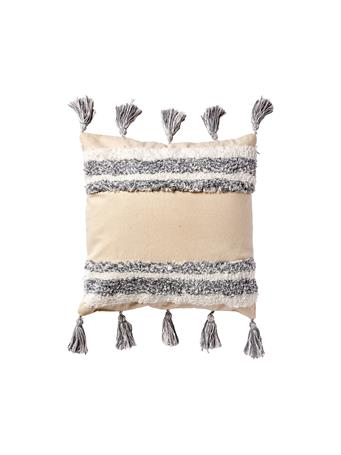 EDEN & WEST - Decorative Cotton Pillow - Chenille Line Pattern BEIGE