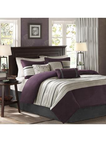 MADISON PARK - Palmer 7 Piece Faux Suede Comforter Set PURPLE