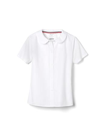 FRENCH TOAST - Short Sleeve Modern Peter Pan Collar Blouse WHITE
