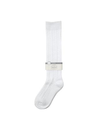 Cotton Cable Design Long School Socks WHITE