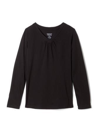 FRENCH TOAST -Long Sleeve V-Neck Tee BLACK