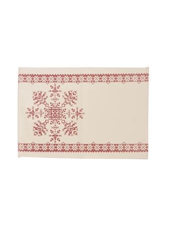 C&F - Cross Stitch Snowflake Placemat WHITE/ RED