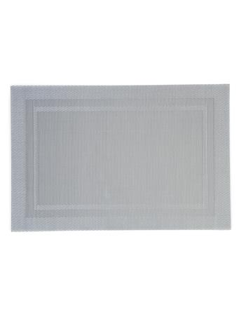 HOME ESSENTIALS - Rectangular Border Metallic Place Mat WHITE