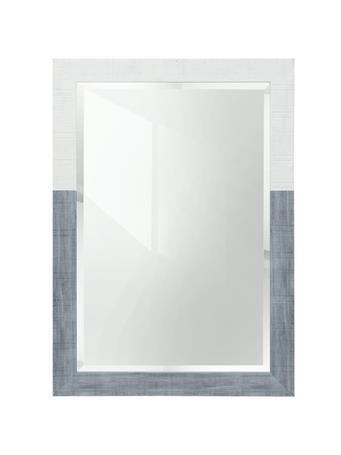 STYLECRAFT - Wooden Painted Color Block Mirror White/Light Blue LIGHT BLUE AND WHITE