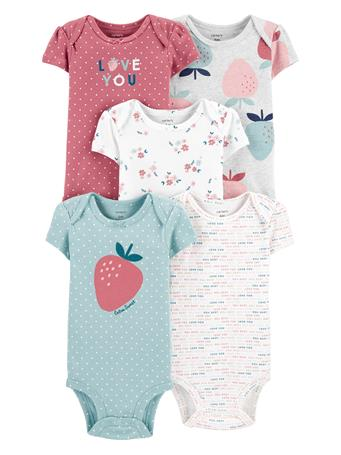 CARTER'S - 5 Pack Short Sleeve Body Suit  MULTI