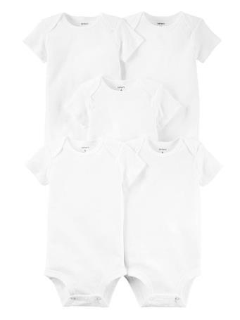 CARTER'S - 5 Pack Short Sleeve Body Suit WHITE