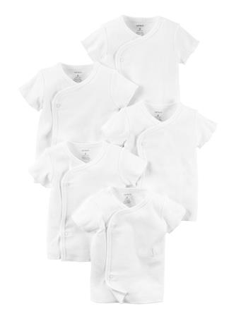 CARTER'S - 5 Pack Side Snap Tee WHITE