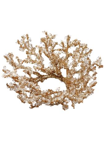 ALL STATE FLORAL - Iced Glittered Plastic Twig Candle Ring GOLD
