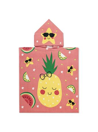 BEACH TOWEL -   Kids Hooded Velour Pineapples PINK