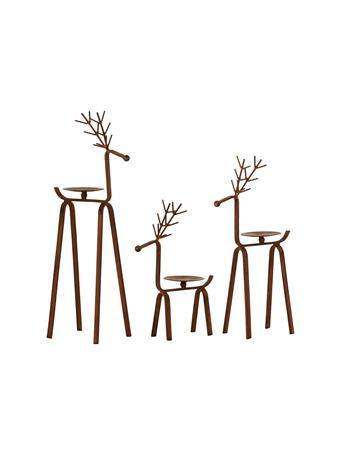 ELK - Timberland Reindeer Pillar Holders (Set Of 3) BRONZE
